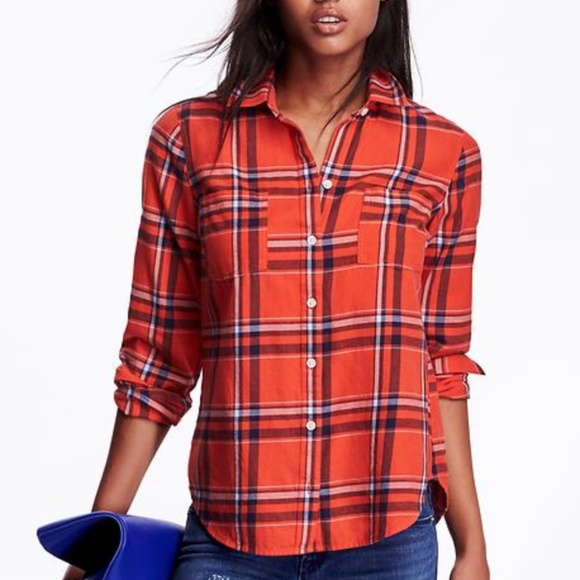 OLD NAVY Red Plaid Shirt/Blouse/Top XS